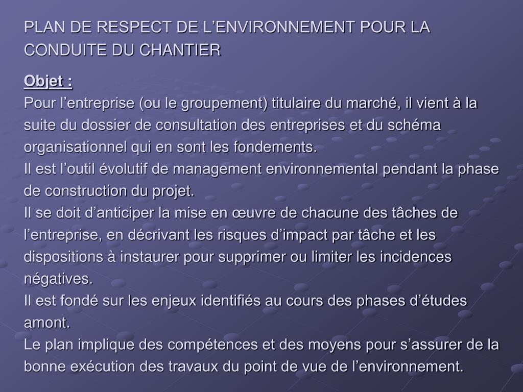 PLAN DE RESPECT DE L'ENVIRONNEMENT POUR LA CONDUITE DU CHANTIER