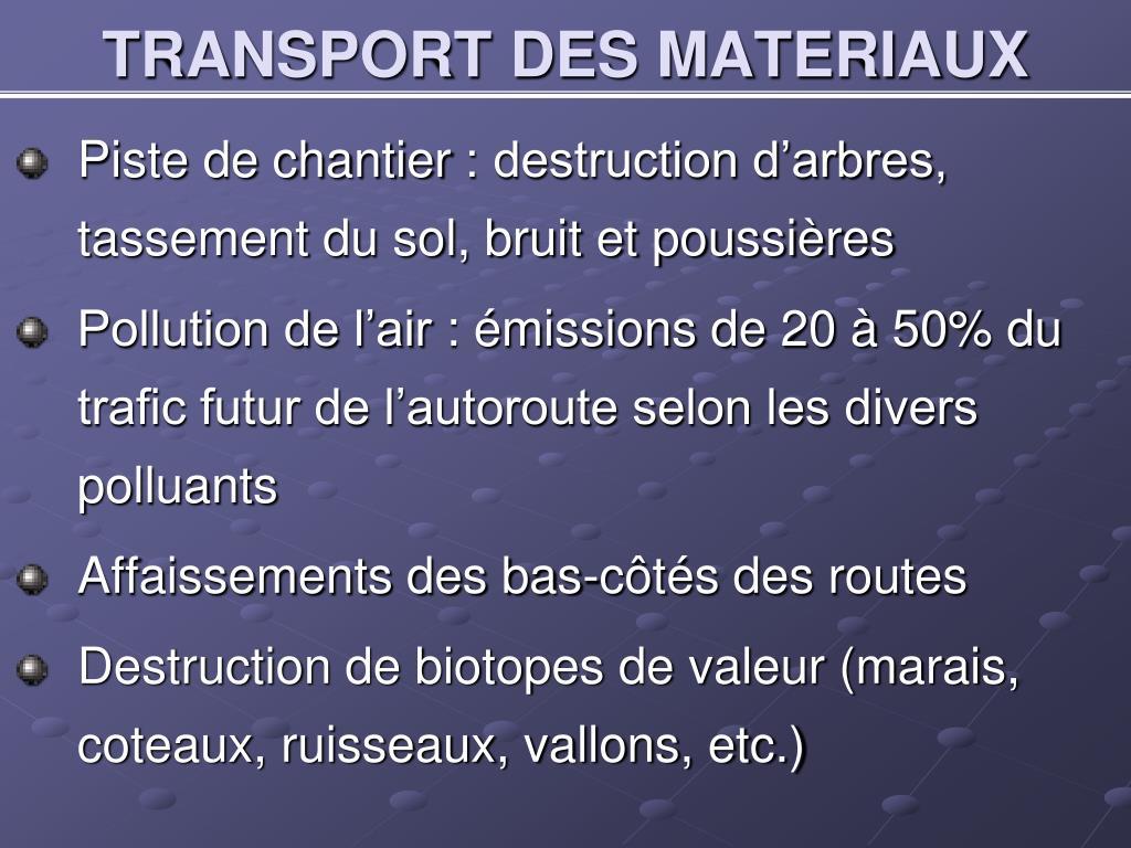 TRANSPORT DES MATERIAUX