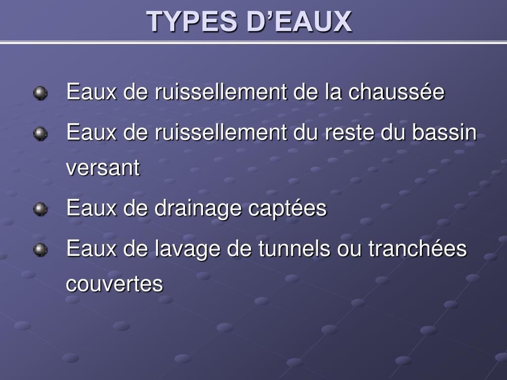 TYPES D'EAUX