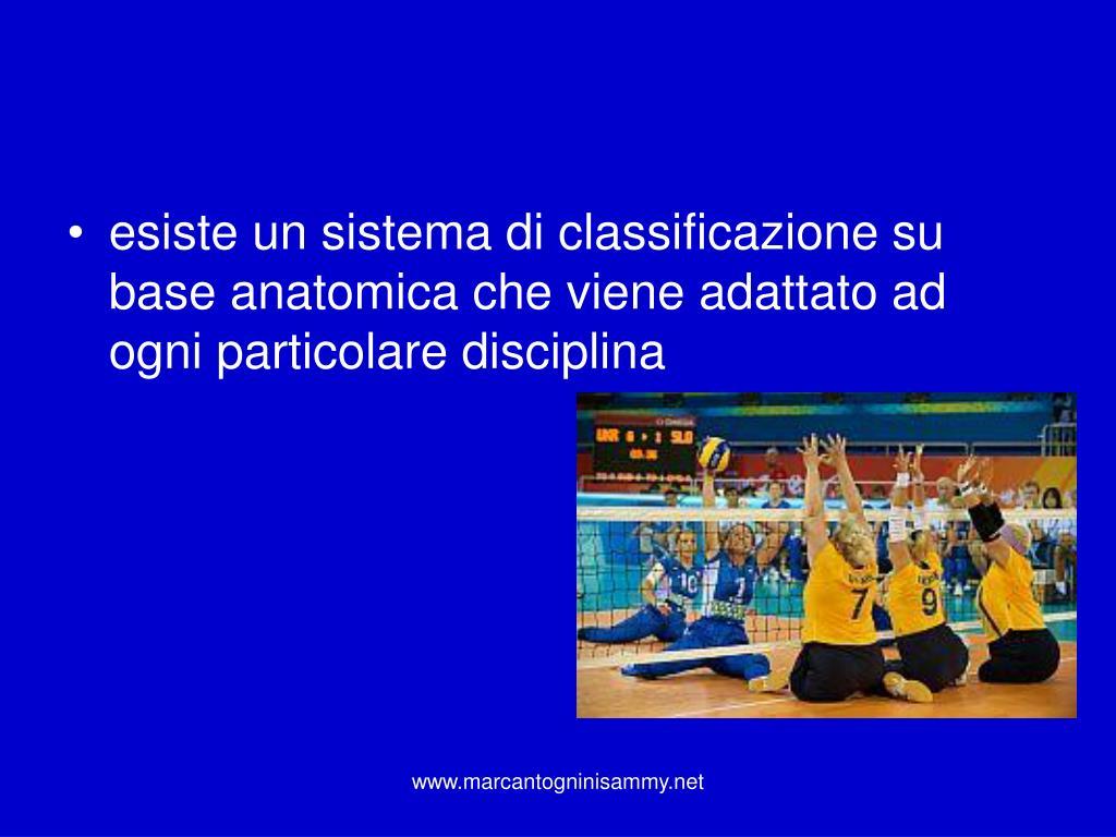 esiste un sistema di classificazione su base anatomica che viene adattato ad ogni particolare disciplina