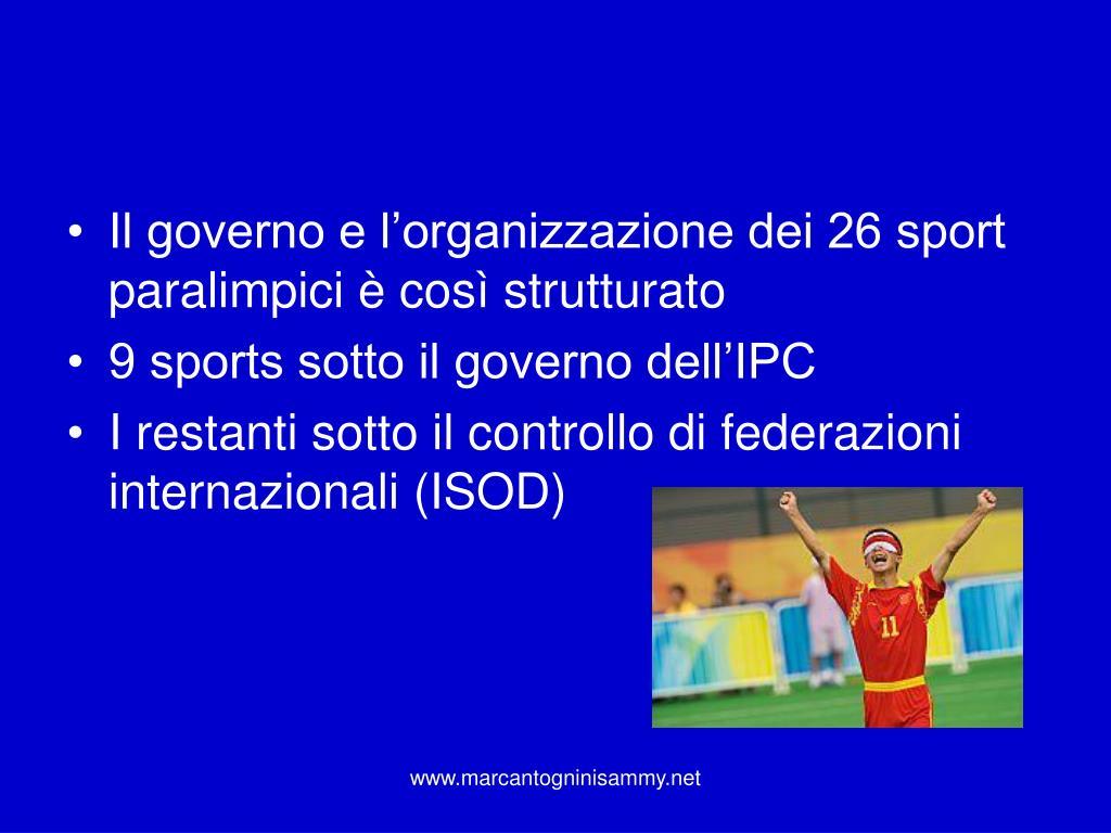 Il governo e l'organizzazione dei 26 sport paralimpici è così strutturato