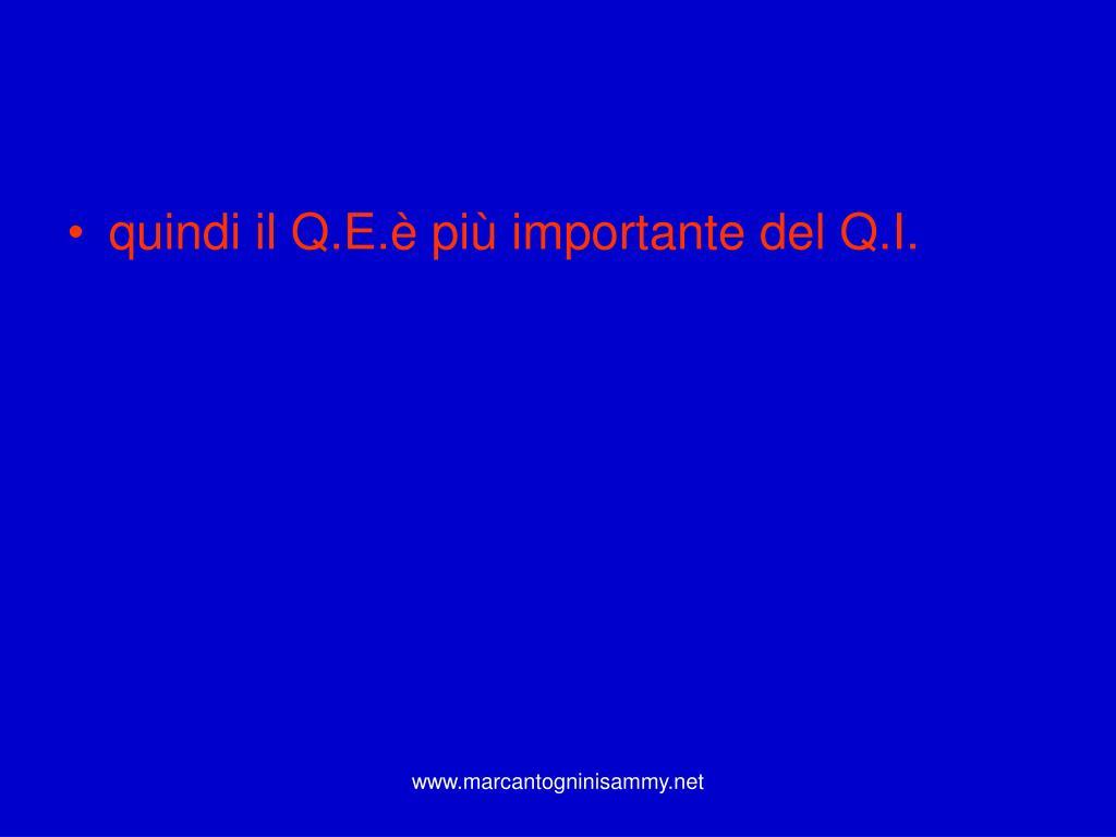 quindi il Q.E.è più importante del Q.I.