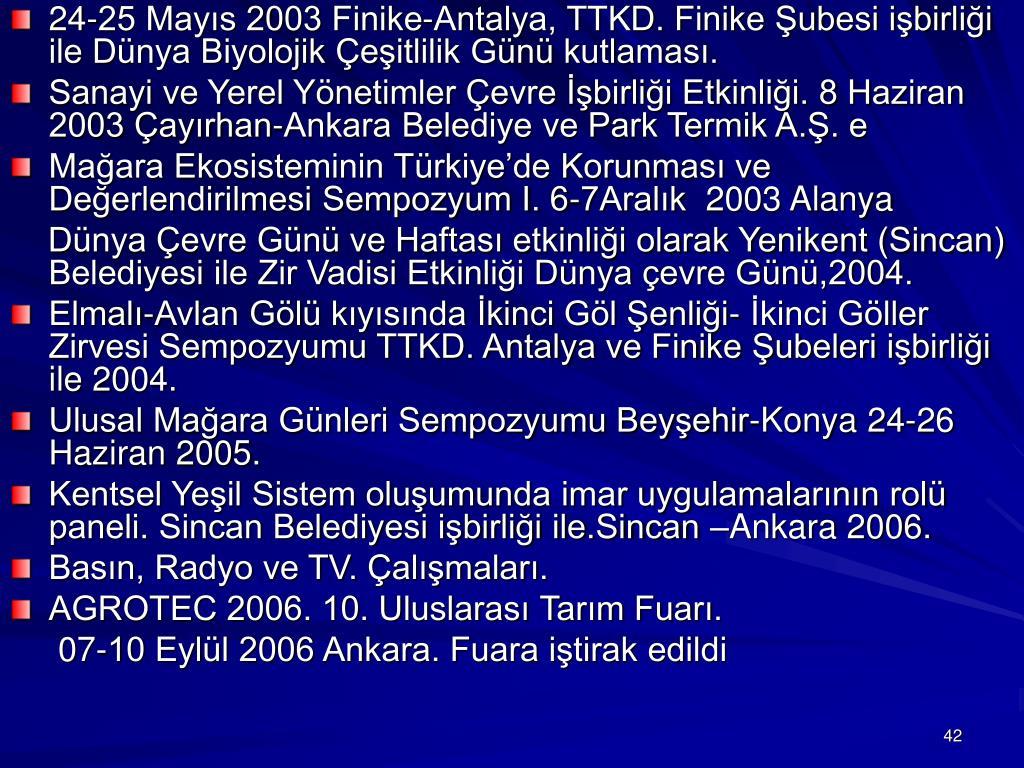 24-25 Mayıs 2003 Finike-Antalya, TTKD. Finike Şubesi işbirliği ile Dünya Biyolojik Çeşitlilik Günü kutlaması.