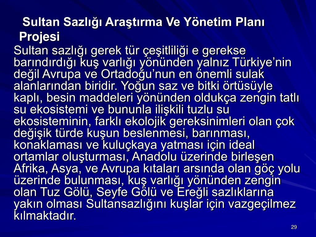 Sultan Sazlığı Araştırma Ve Yönetim Planı Projesi