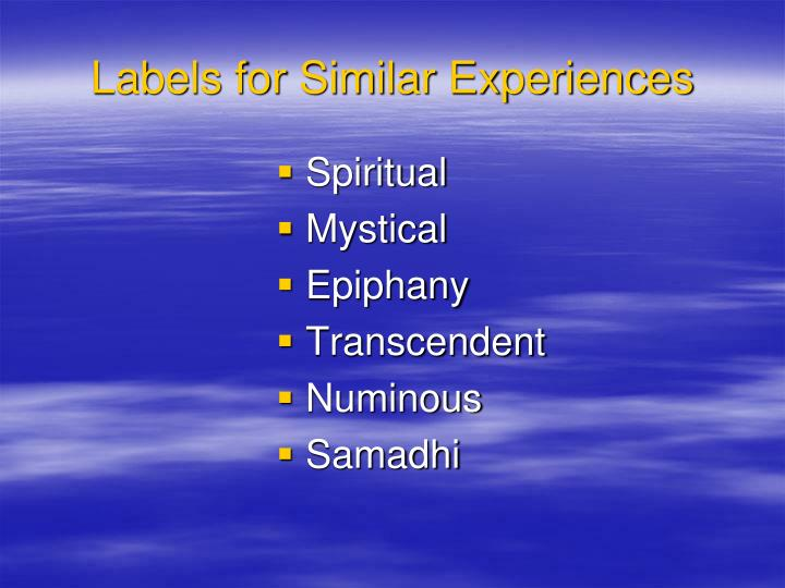 Labels for similar experiences l.jpg