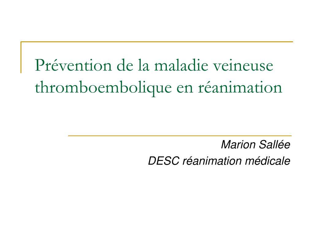 Prévention de la maladie veineuse thromboembolique en réanimation