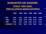 donantes de sangre chile 1992 2000 prevalencia marcadores