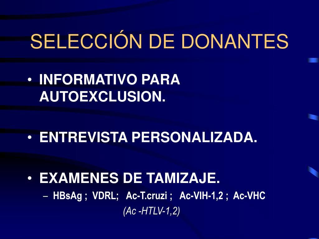 SELECCIÓN DE DONANTES