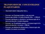 transfusion de concentrados plaquetarios