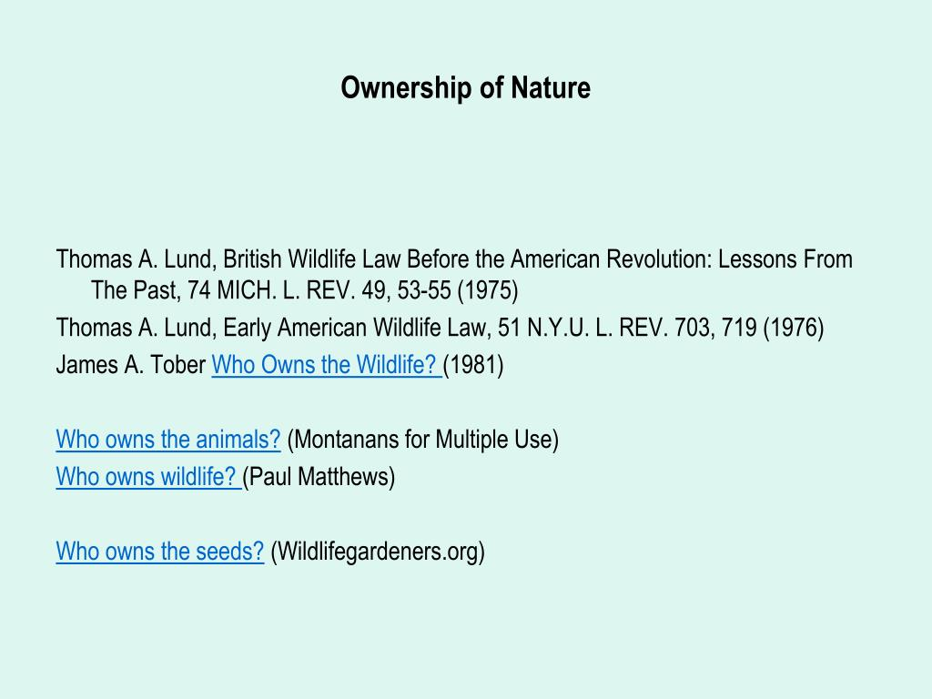 Ownership of Nature