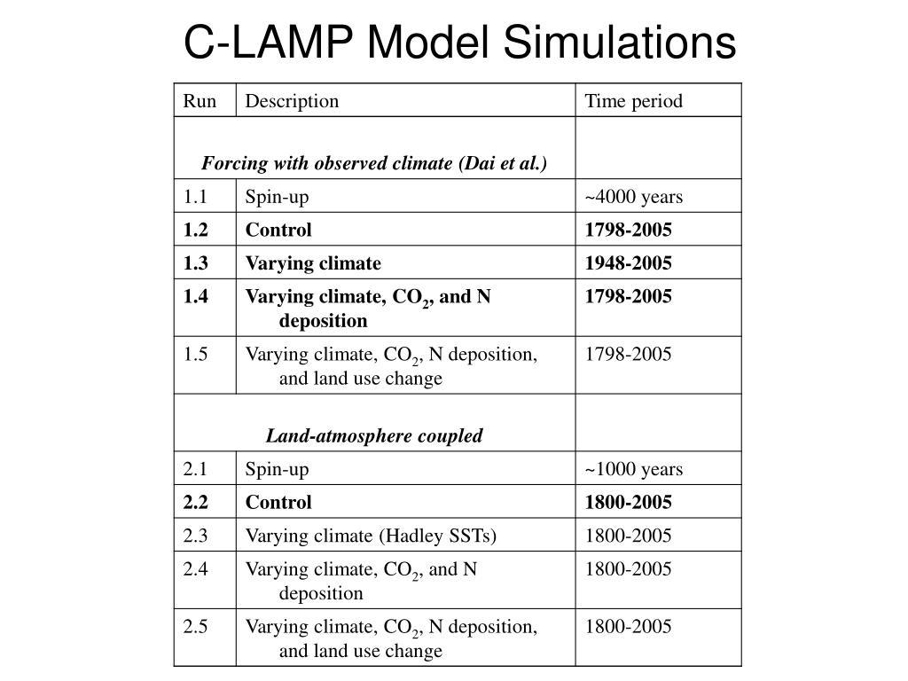 C-LAMP Model Simulations