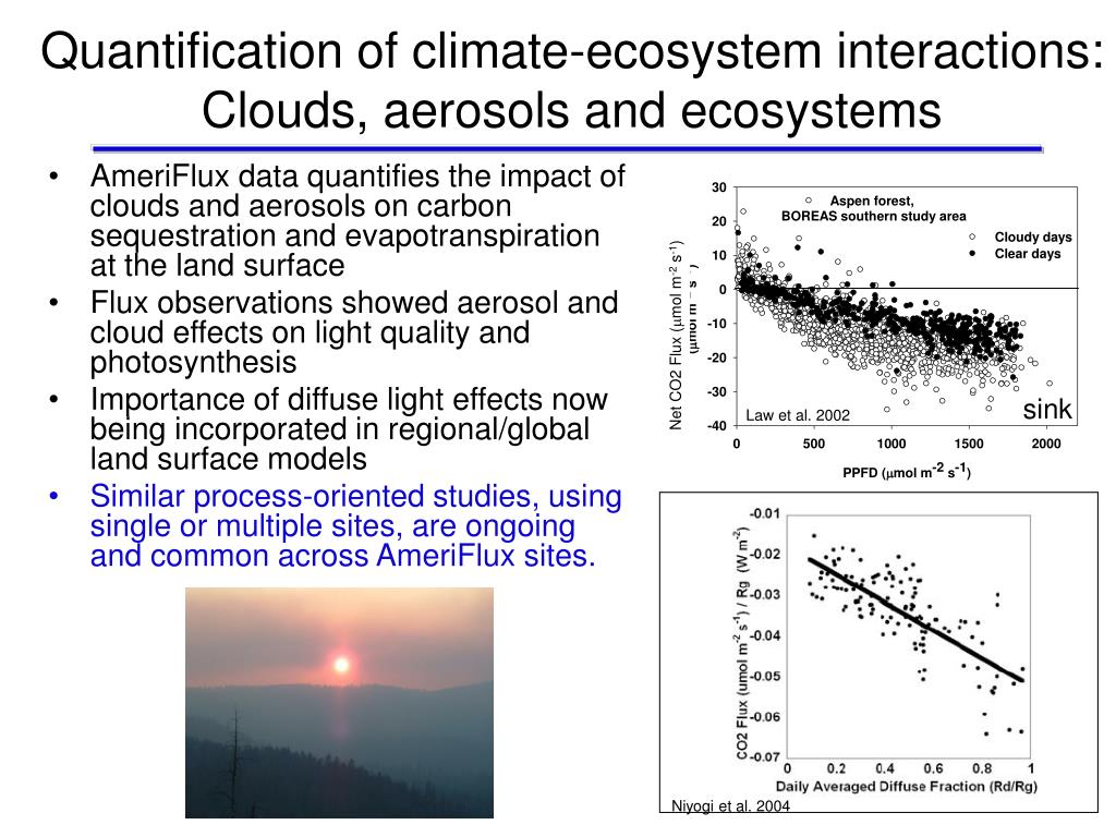 Quantification of climate-ecosystem interactions:  Clouds, aerosols and ecosystems
