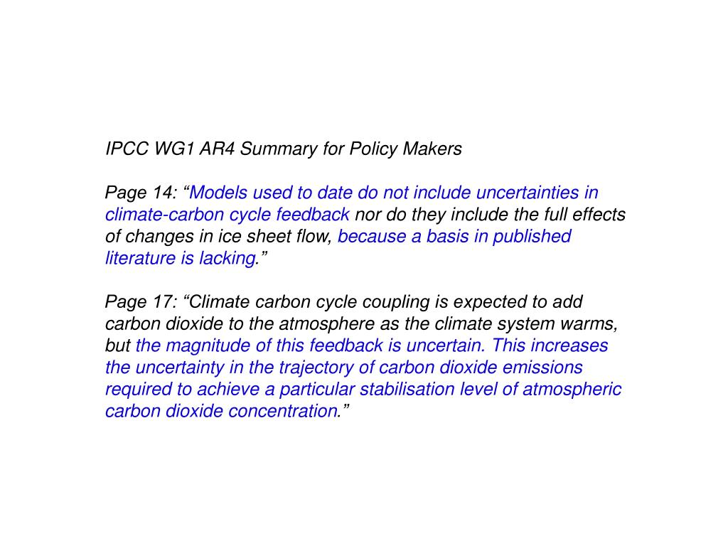 IPCC WG1 AR4 Summary for Policy Makers