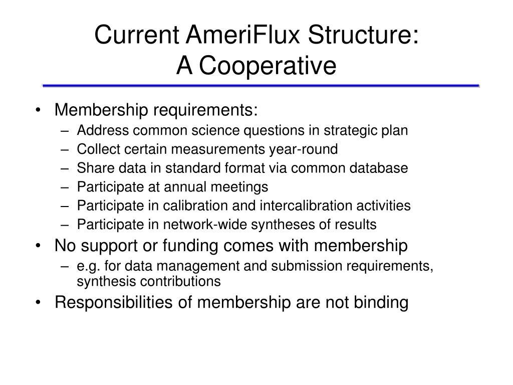 Current AmeriFlux Structure: