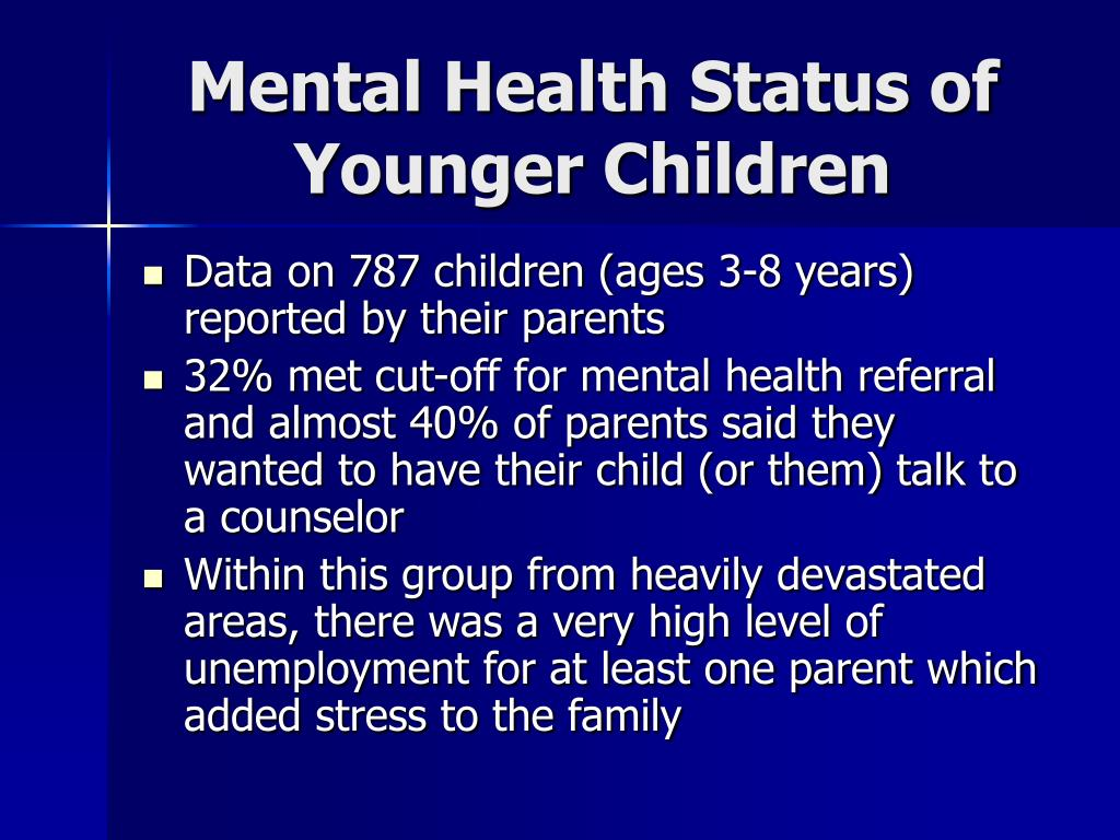 Mental Health Status of Younger Children