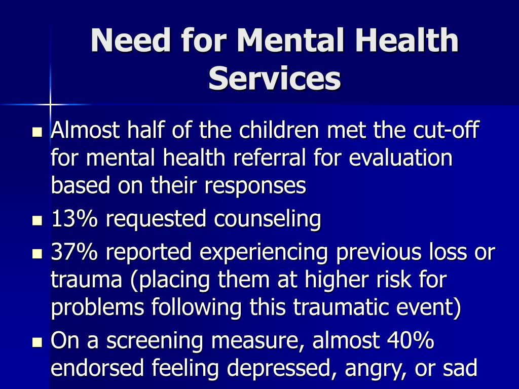 Need for Mental Health Services