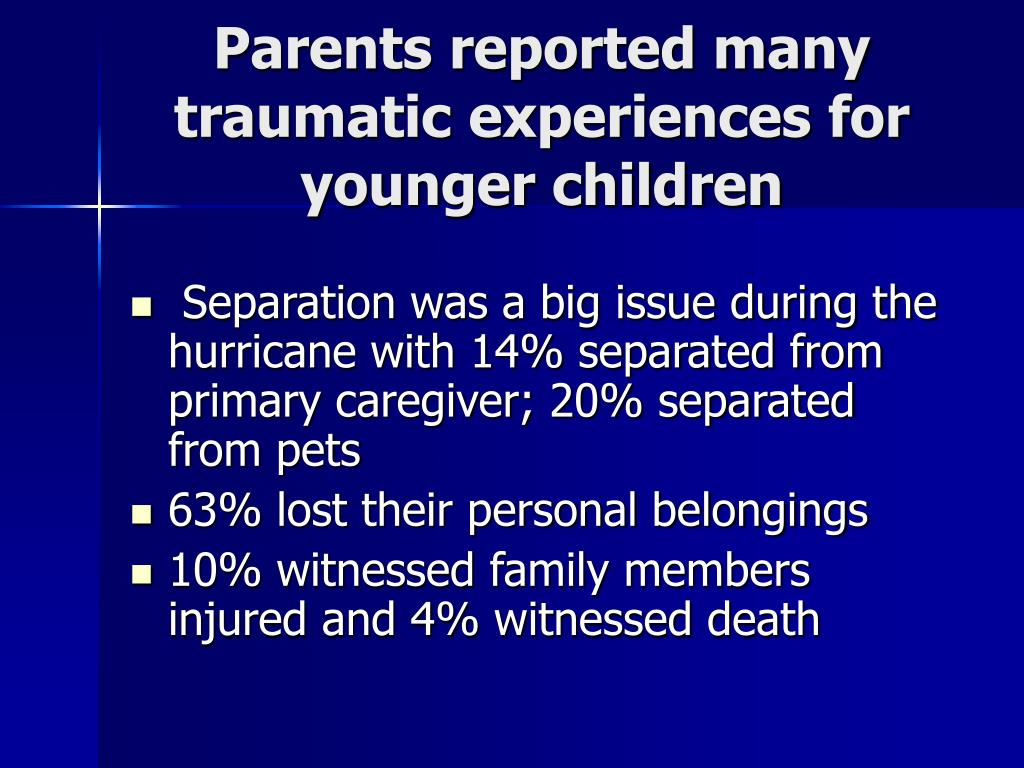 Parents reported many traumatic experiences for younger children