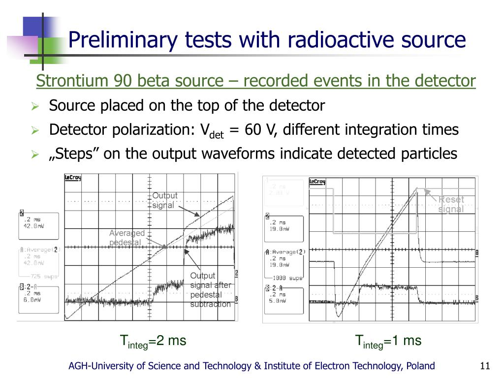 Preliminary tests with radioactive source