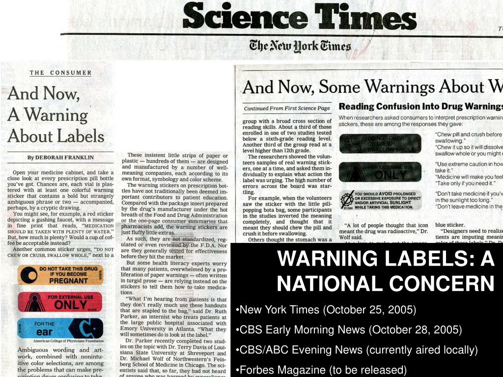 WARNING LABELS: A NATIONAL CONCERN