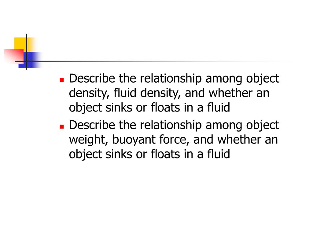 Describe the relationship among object density, fluid density, and whether an object sinks or floats in a fluid