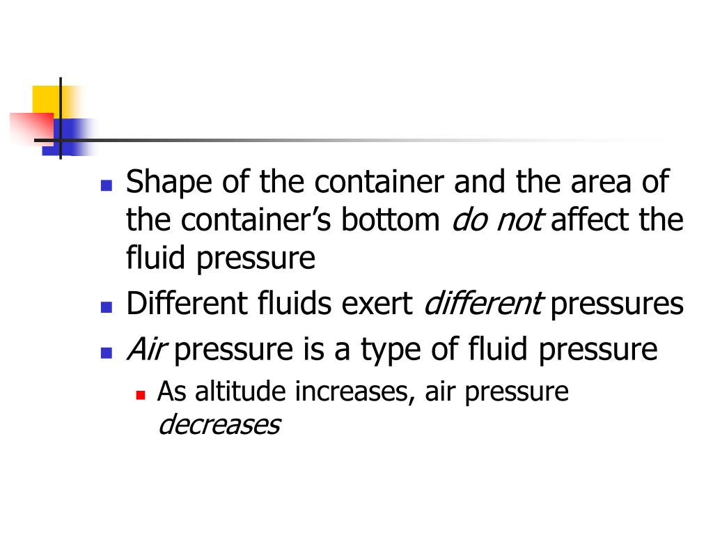 Shape of the container and the area of the container's bottom