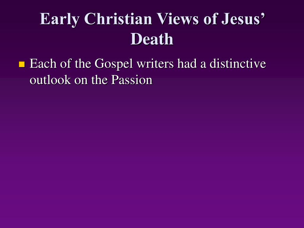 Early Christian Views of Jesus' Death
