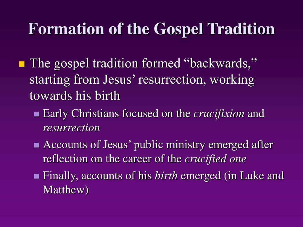 Formation of the Gospel Tradition