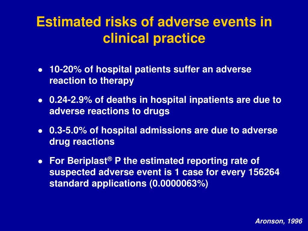 Estimated risks of adverse events in clinical practice