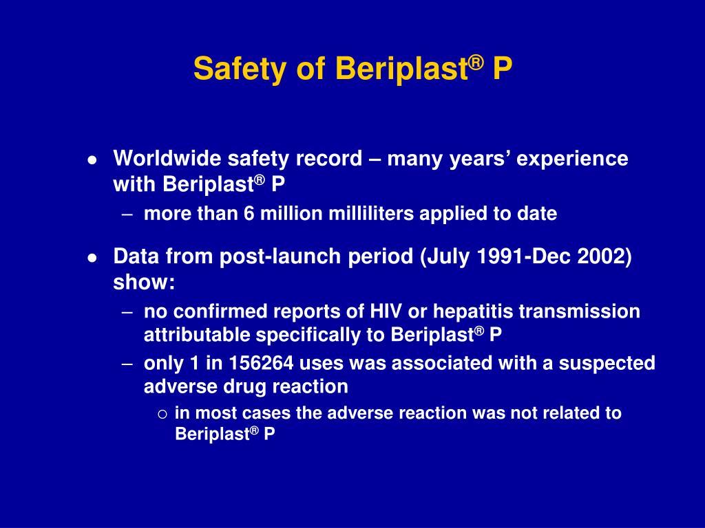Safety of Beriplast