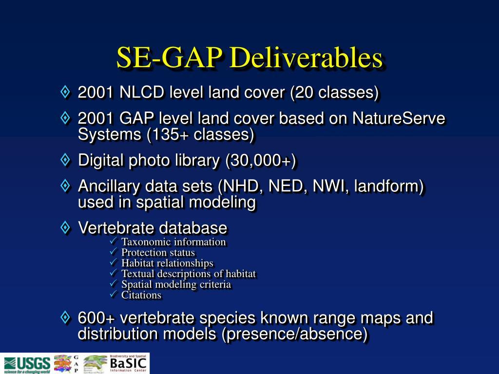 SE-GAP Deliverables