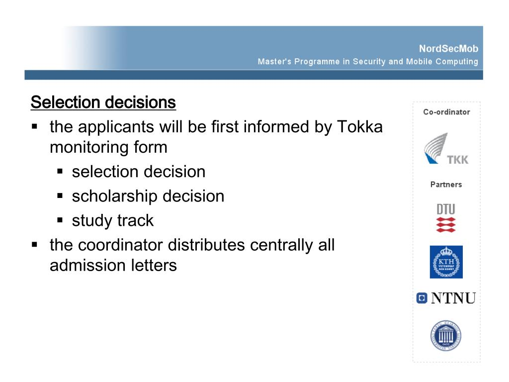 Selection decisions