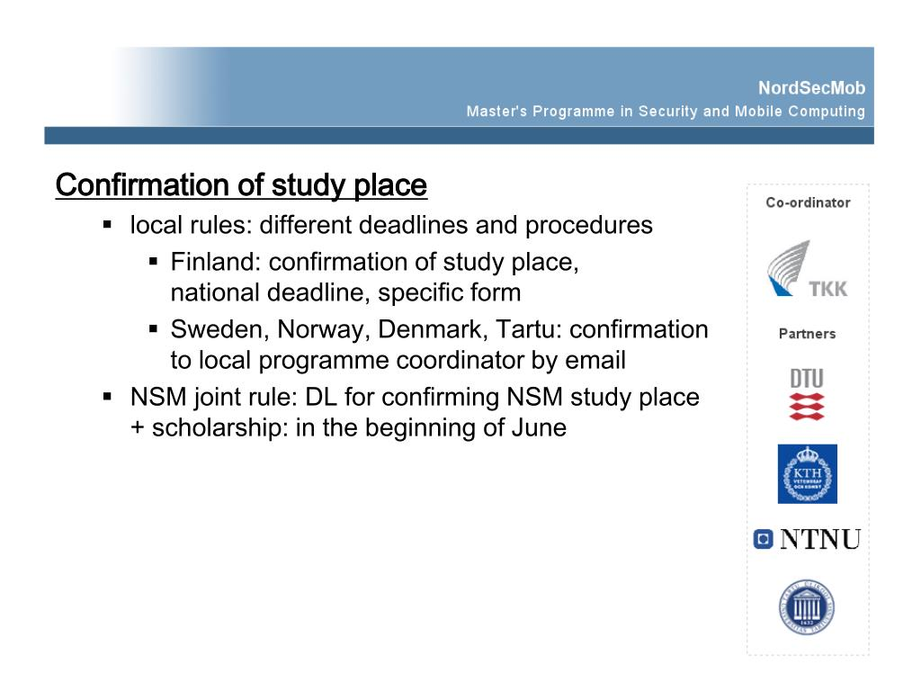 Confirmation of study place