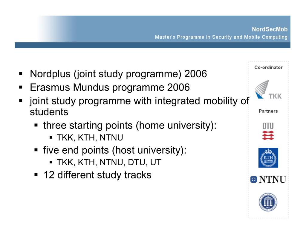 Nordplus (joint study programme) 2006