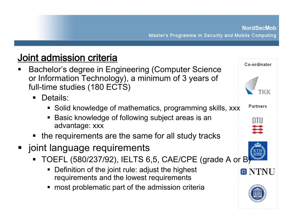 Joint admission criteria