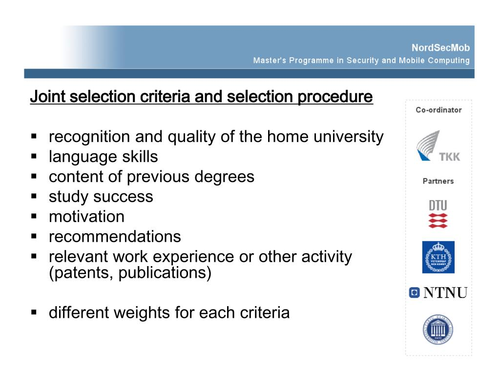 Joint selection criteria and selection procedure