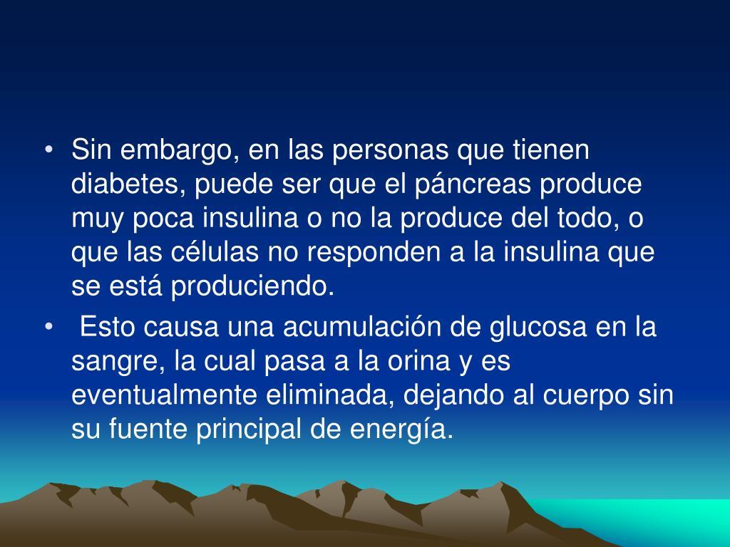 Sin embargo, en las personas que tienen diabetes, puede ser que el páncreas produce muy poca insulina o no la produce del todo, o que las células no responden a la insulina que se está produciendo.