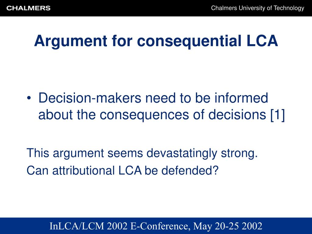Argument for consequential LCA