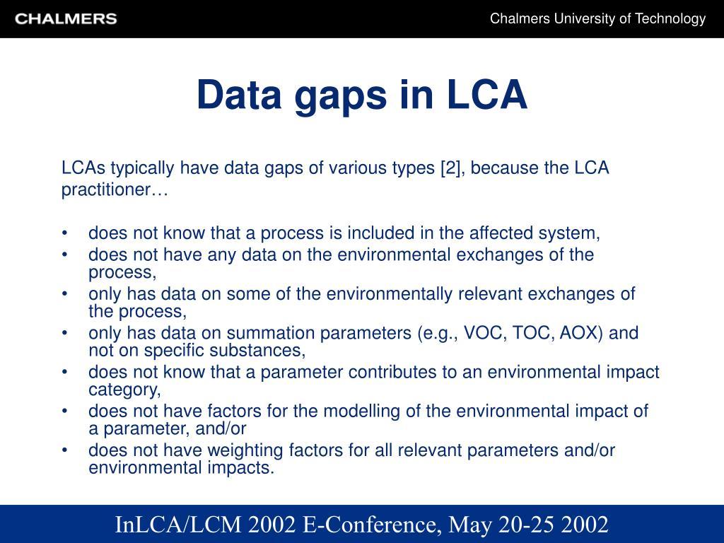 Data gaps in LCA