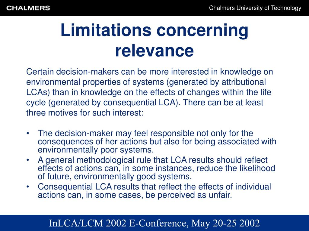 Limitations concerning relevance