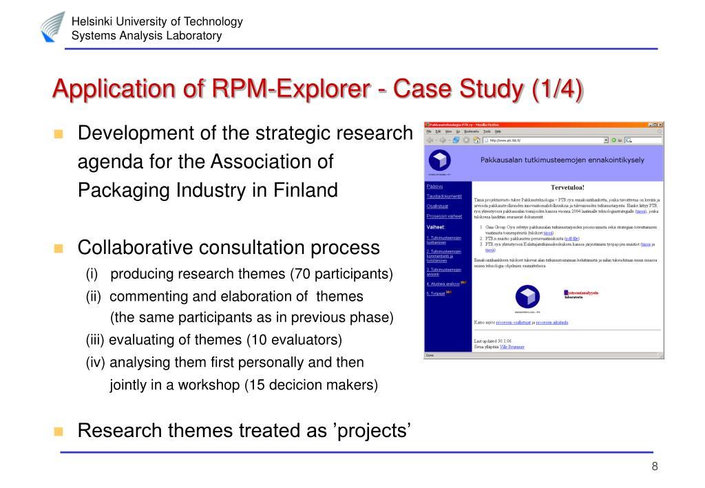 Application of RPM-Explorer - Case Study (1/4)