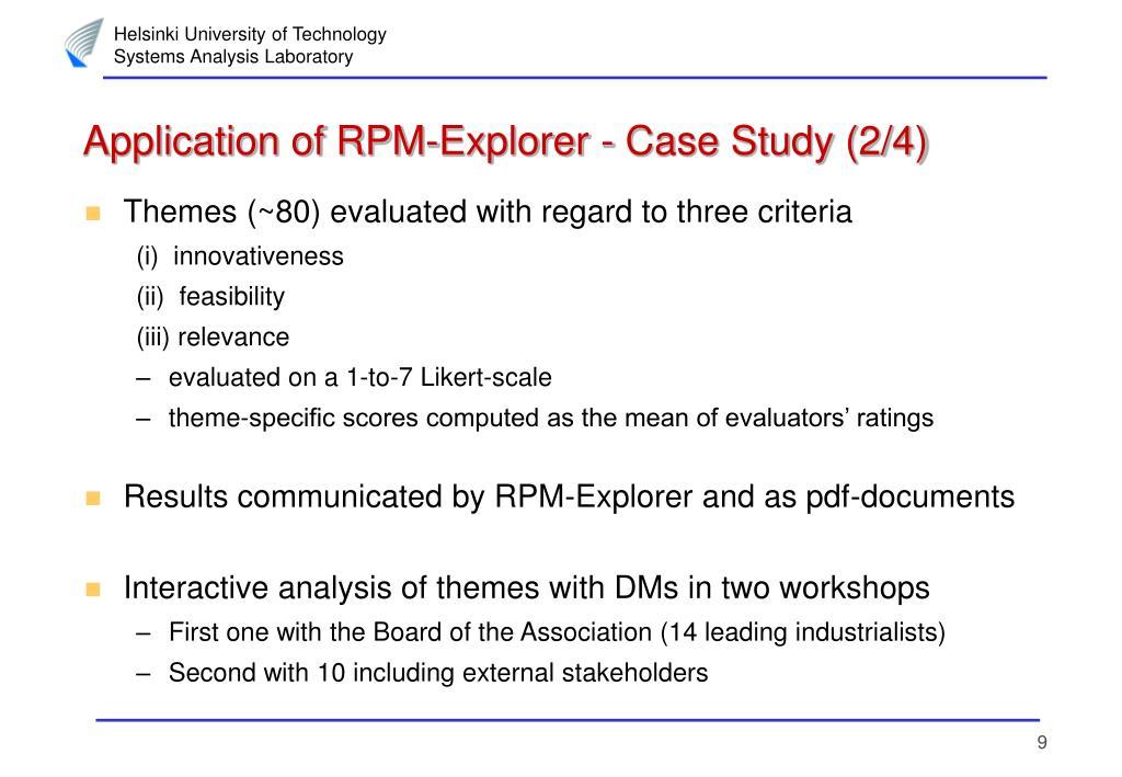 Application of RPM-Explorer - Case Study (2/4)
