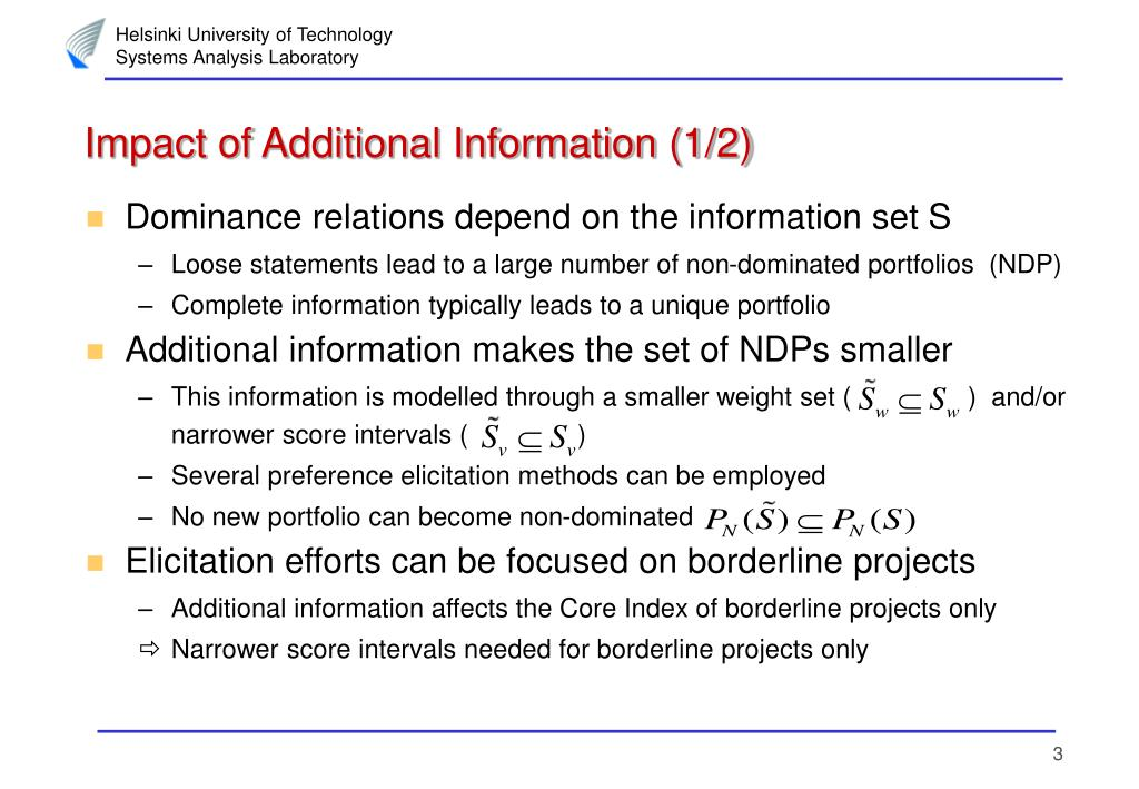 Impact of Additional Information (1/2)