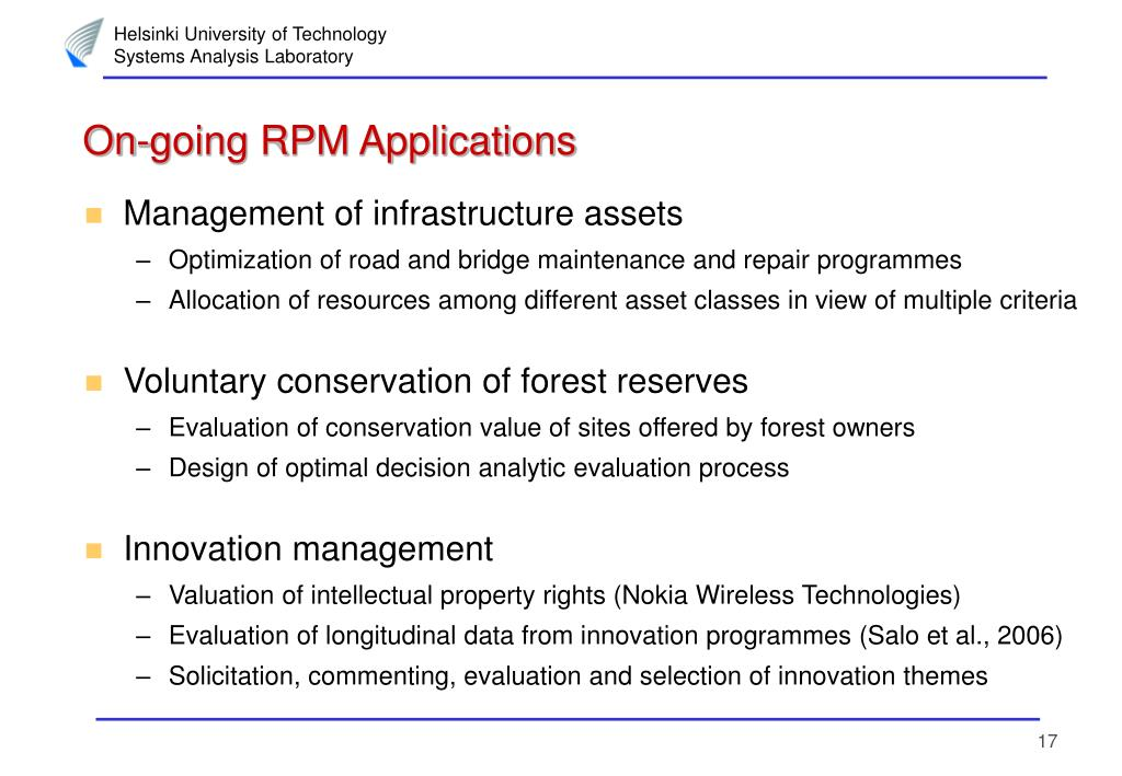 On-going RPM Applications