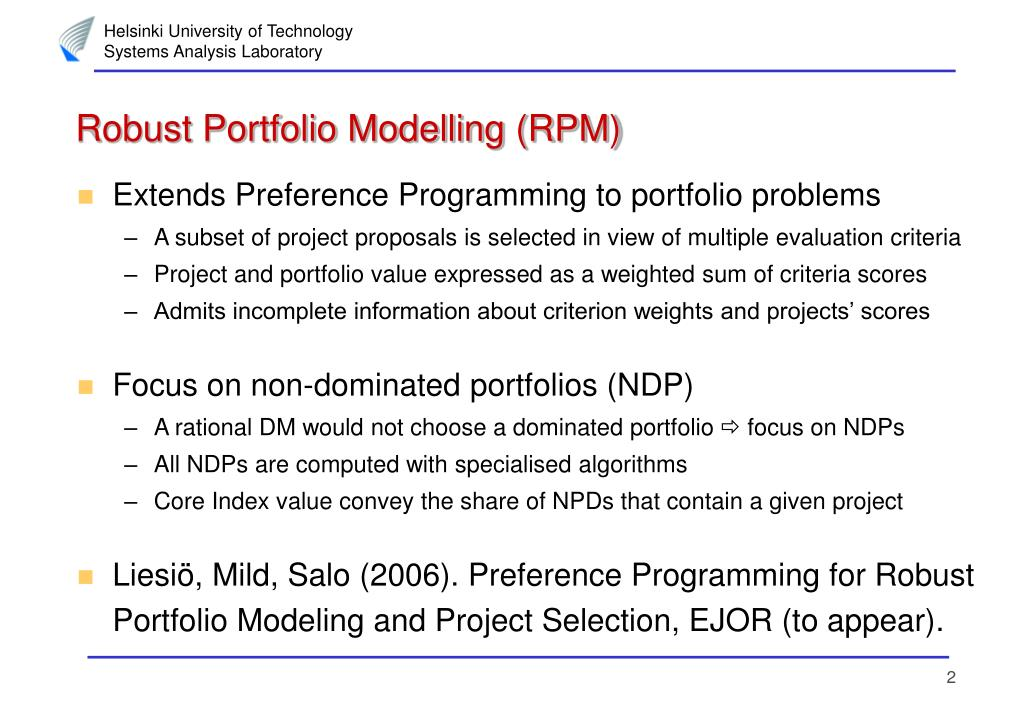 Robust Portfolio Modelling (RPM)