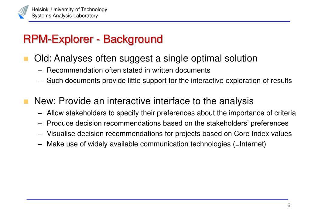 RPM-Explorer - Background