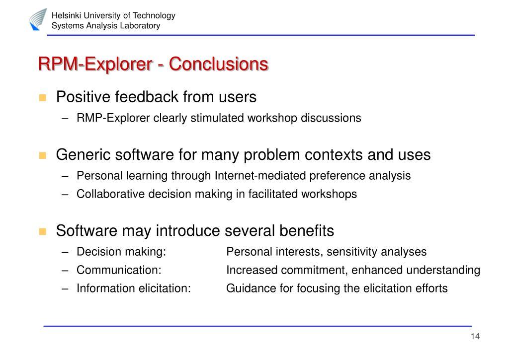 RPM-Explorer - Conclusions