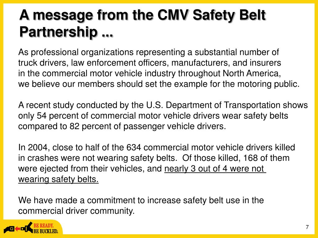 A message from the CMV Safety Belt Partnership ...