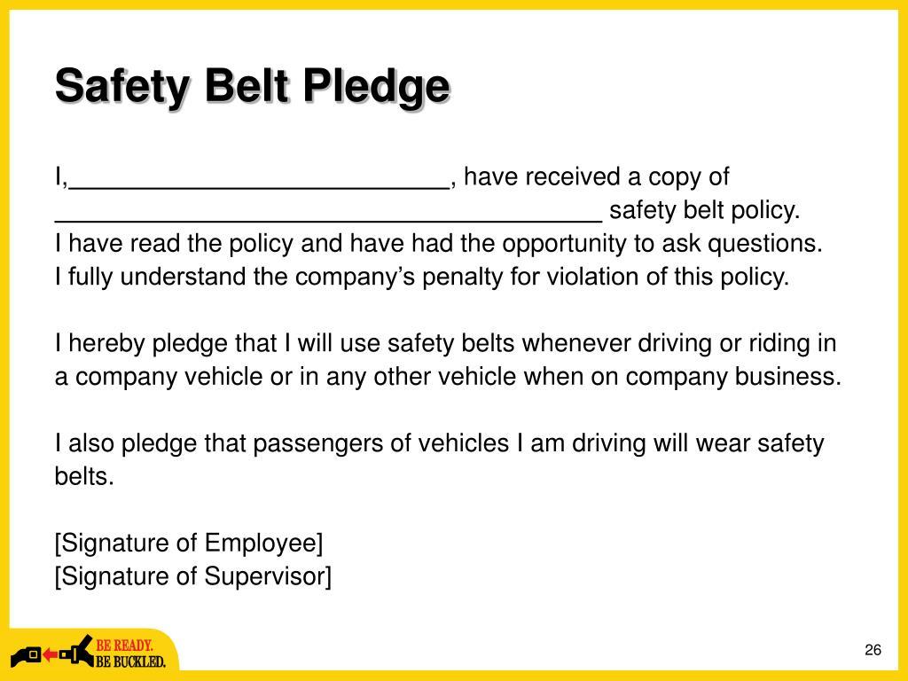 Safety Belt Pledge