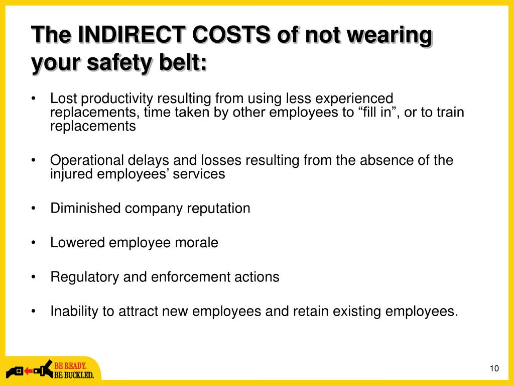 The INDIRECT COSTS of not wearing your safety belt: