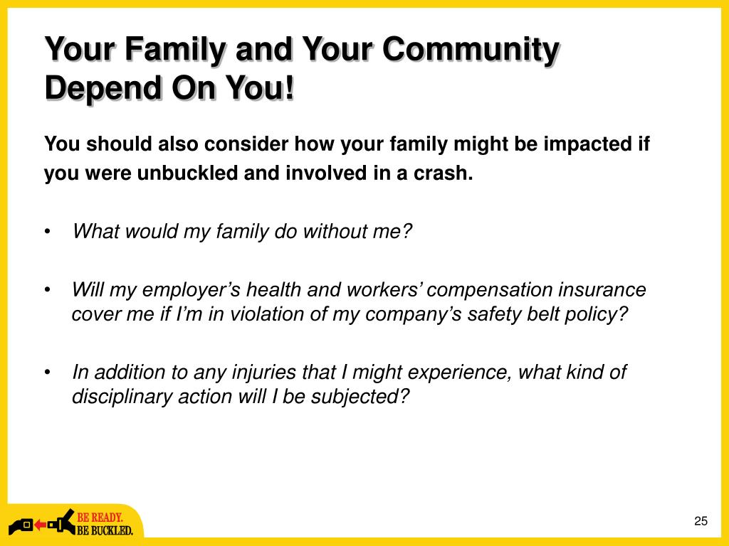Your Family and Your Community Depend On You!